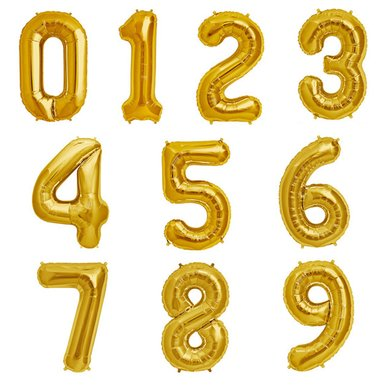 Mylar gold number balloons